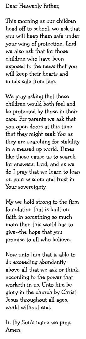 Prayer for the safety of children and faithful guidance of parents...