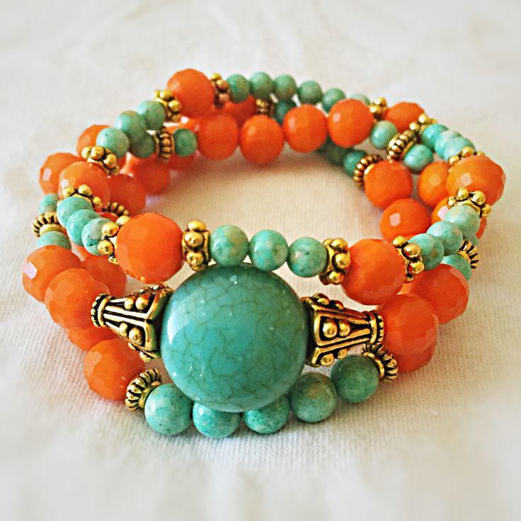 Orange...turquoise...gold beads bracelet