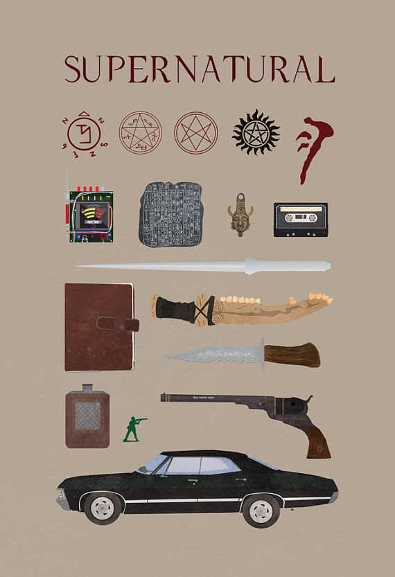 Inspired by the TV show supernatural. Deans Amulet, Bobbys flask, Castiels blade, Rubys Knife, the Colt, the Anti-possession tattoo, Devils trap, Angel sigil, Tablet, Mark of Cain, the First Blade, Green Army man, Men of Letters symbol, John Winchesters Journal, music cassette, and the