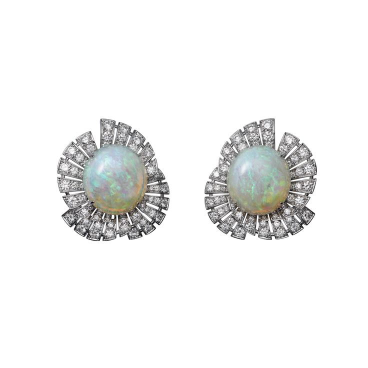 High Jewelry earrings High Jewelry <br />Cartier Royal <br />earrings, platinum, oval-shaped opals (8.52 carats and 8.75 carats), brilliant-cut diamonds.