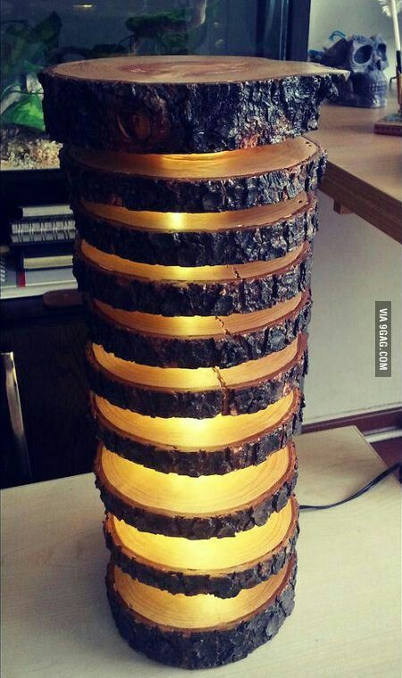 Lamp made from log slices