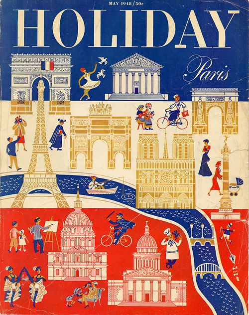 Vintage magazine cover: Holiday: Paris (May 1948). Via...