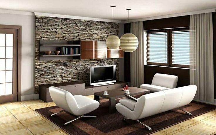 Moderna sala con pared decorada con piedras. Simple y hermosa ...