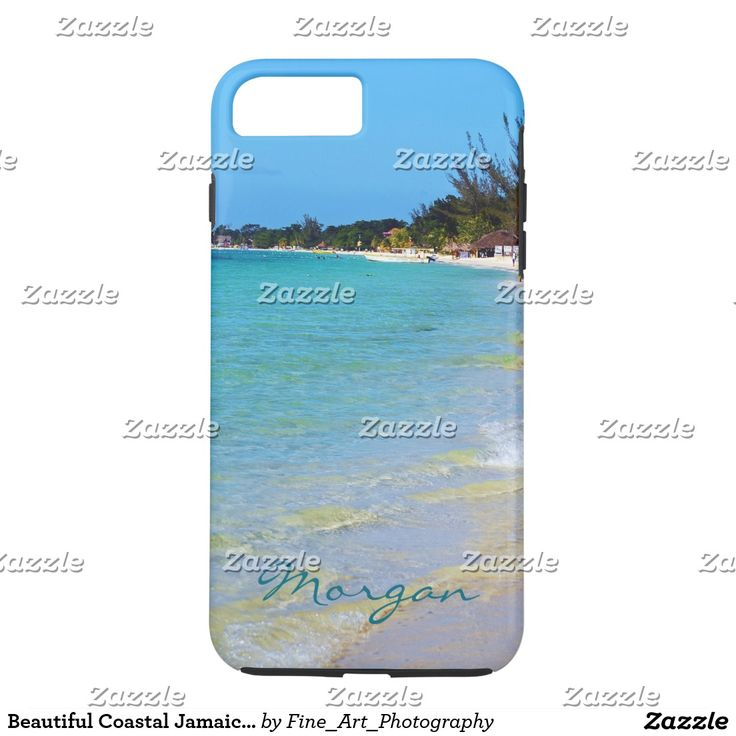 Beautiful Coastal Jamaica Beach Sand Surf V5 iPhone 7 Plus CaseThis beautiful souvenir phone case features landscape nature travel photography of the famous 7 mile beach taken in tropical Negril, Jamaica with teal green blue text. Great gift for a summer loving warm weather beach lover.