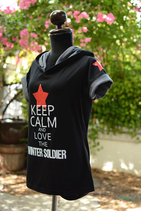Bucky Barnes black t-shirt hoodie keep calm and love the Winter Soldier