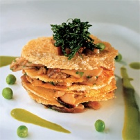Porcini mushroom millefeuille with Grana Padano cheese and spicy pea sauce