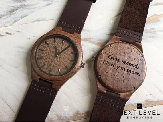 Engraved Wood Watch 1 Year Anniversary Gift For Boyfriend Gift Mens Custom Personalized Gift For Him Boyfriend Christmas Gift Mens Watch Boyfriend Personalized Gifts Valentine Gifts For Husband Boyfriend Gifts