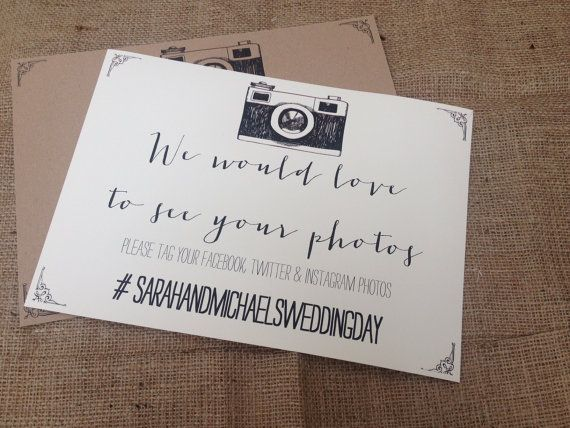 Rustic/Vintage/Shabby Chic A4 Wedding Camera Instagram/facebook/twitter sign