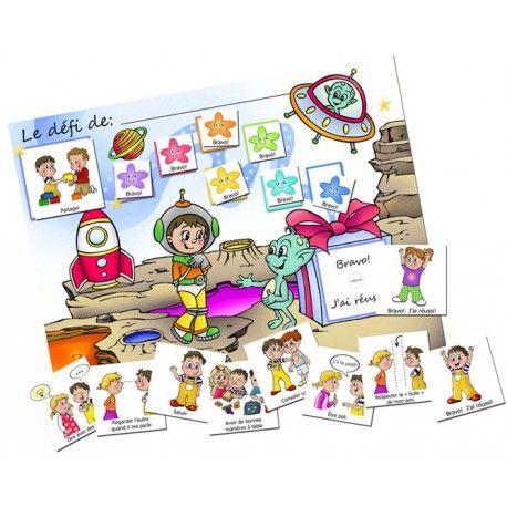 """Le tableau de motivation """"ASTRONAUTE"""" est un support visuel qui motive l'enfant à faire des efforts pour acquérir une habileté sociale. La première case accueille le pictogramme du comportement à travailler."""