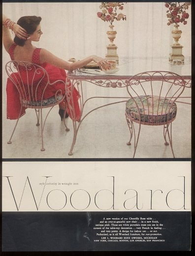 woodard chantilly rose wrought iron table chair ad