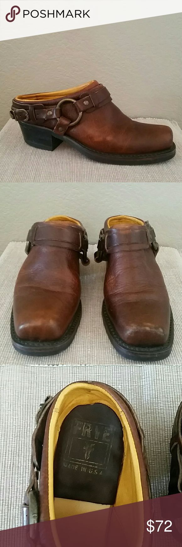 Frye boots Frye mules, slip on booties, 7 1/2, neoprene oil resistant, excellent used condition, minor knicks, see pics, 2inch heel, Chestnut mule clog, Frye Shoes Mules & Clogs