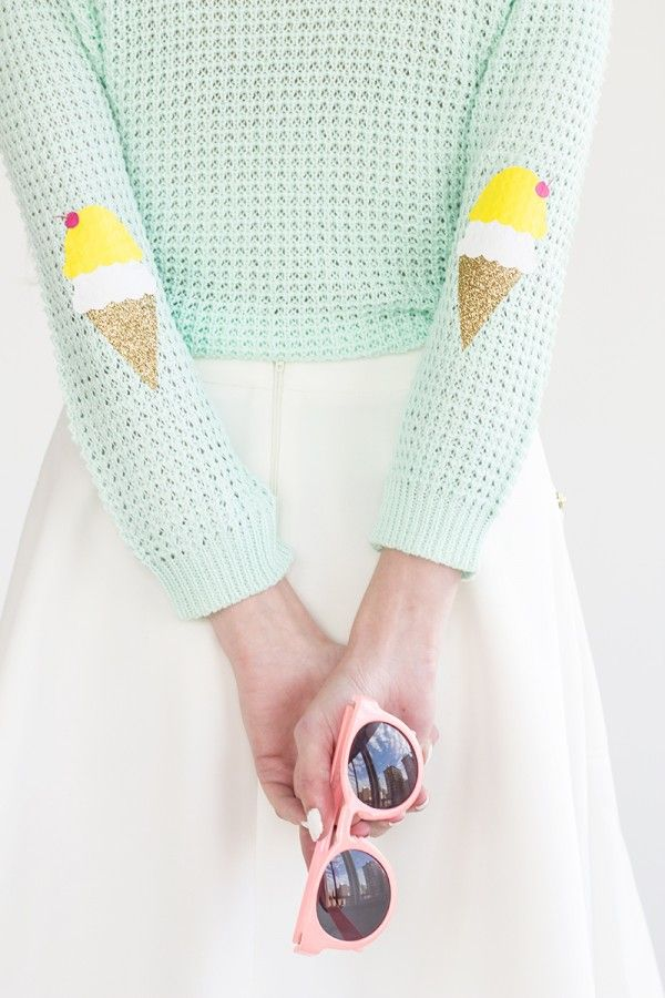 Feeling chilly but want to keep up your summer style, try this DIY Ice Cream Cone Elbow Patches from Studio DIY
