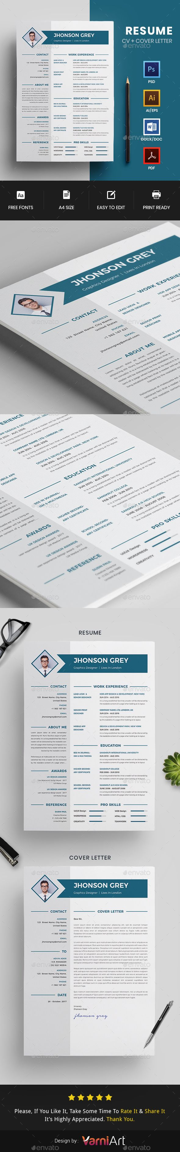 mla cover letter format%0A CV   Resume Template PSD  Vector EPS  AI Illustrator  MS Word