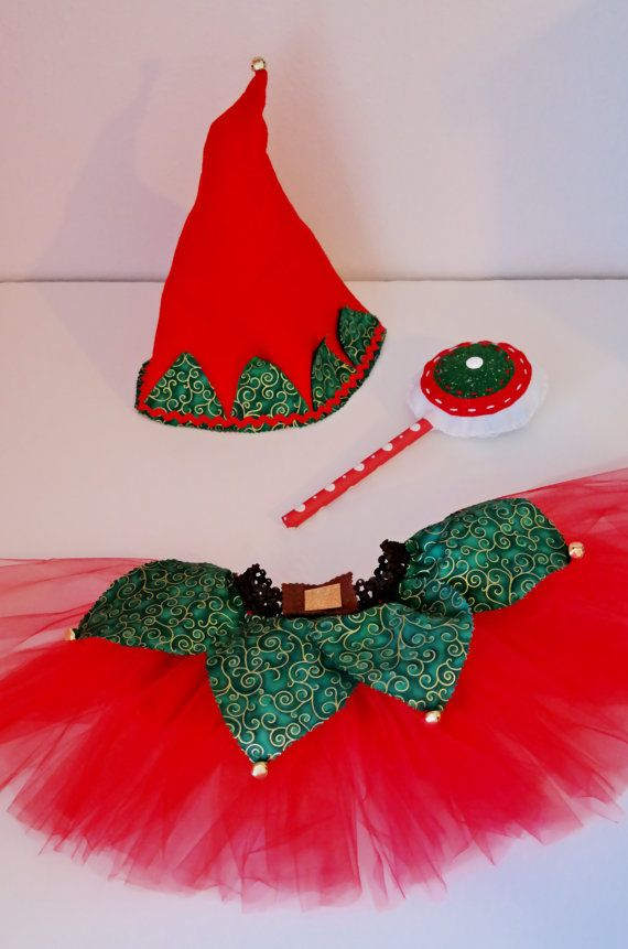 Christmas elf costume. Handmade 3 piece outfit. by SeamGarden