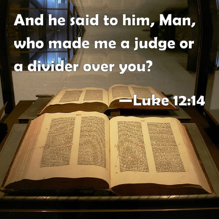 Luke 12:14 And he said to him, Man, who made me a judge or a divider over you?