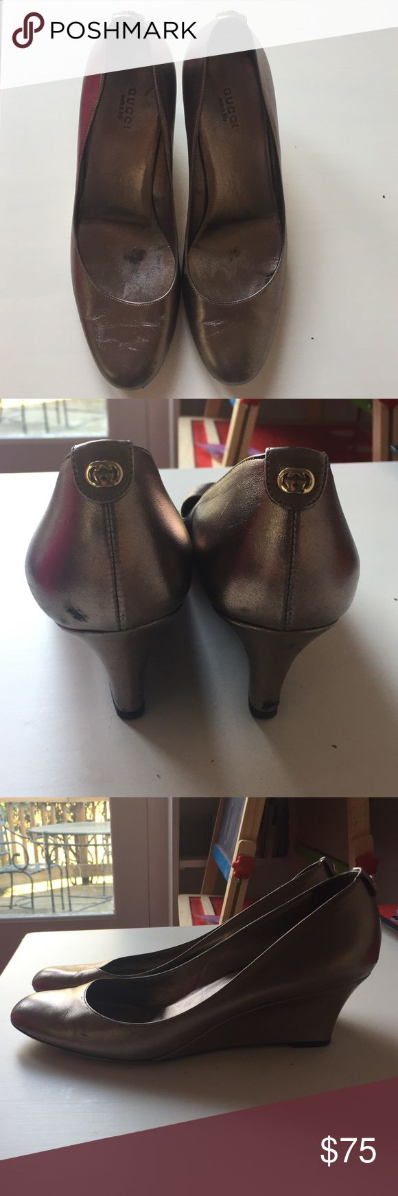 Gucci gold wedge heels.  Size 8 1/2. Gucci gold wedge heels. Used but still have good life left. Some marks on leather as shown. Size 8 1/2. Gucci Shoes Wedges