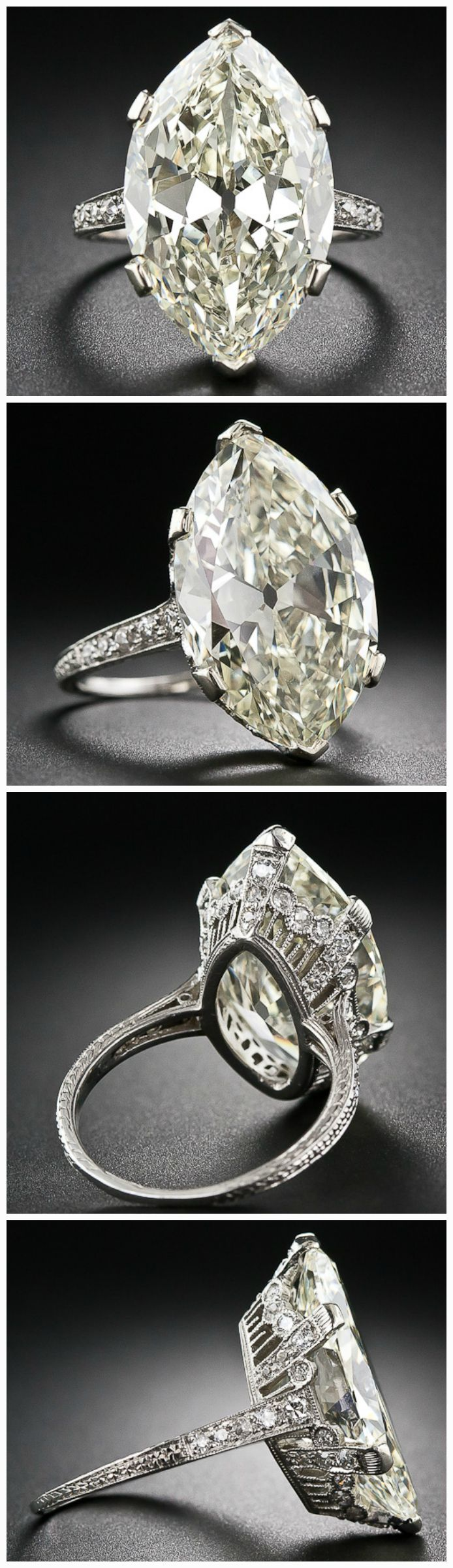 Ode to a moval diamond ring: Lang Antiques' 9.55 carat beauty. .Diamonds in the Library