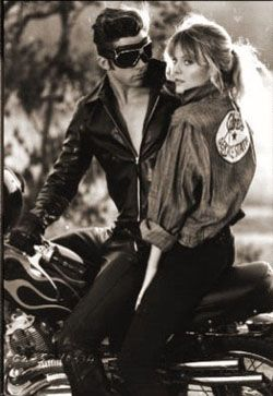 Grease 2 on and I'm loving it!  this is our costume for next Halloween! perfect, I already got my Michael with his Harley!