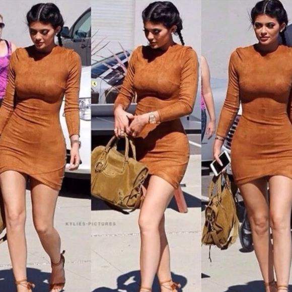 Kylie Jenner Dress Inspired by fashion teens dress! Suede worn once size small fits true to size . No flaws . Dresses Mini