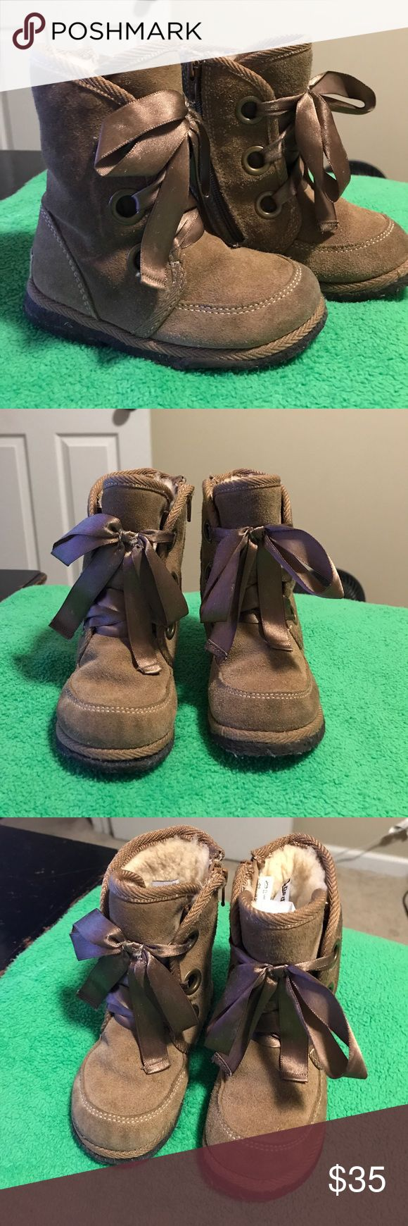 Toddler size 7 Toddler girls boots size 7 -good used condition  -suede tan pediped Shoes Boots