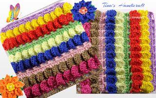 Tina's handicraft : Crochet Textured Striped Stitch No 29 - video tuto...