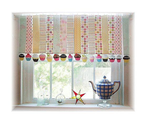 Whimsical Paper Cupcake Window Treatment Valance