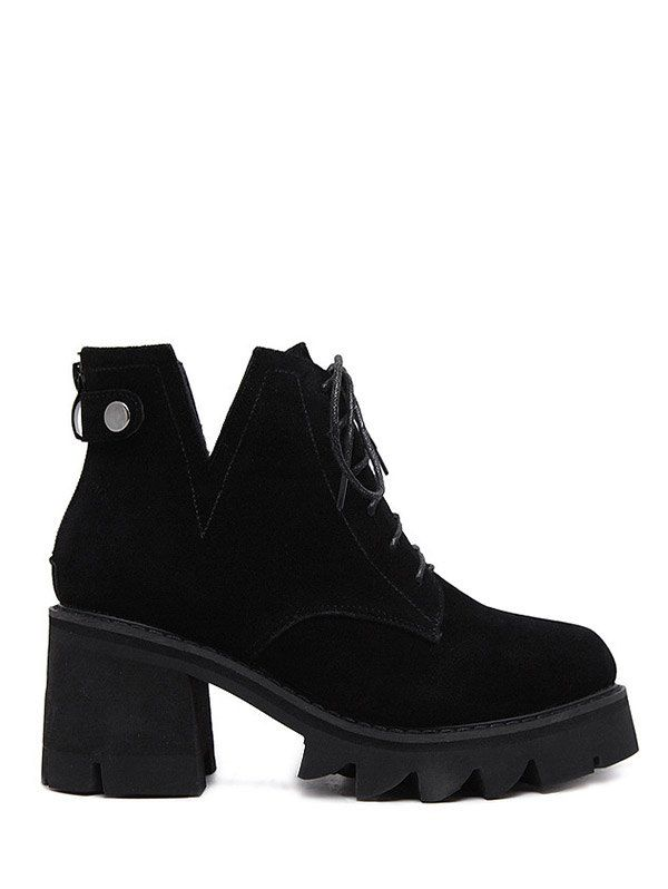 Slit Lace Up Chunky Heel Boots #CLICK! #clothing, #shoes, #jewelry, #women, #men, #hats