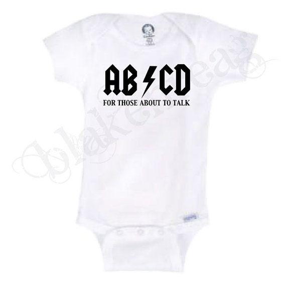 ABCD inspiré par ACDC Gerber Onesie bébé douche par Blakenreag, $8.99