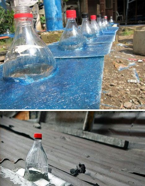 "LOVE this idea! This guy invented new light ""bulbs"" using an old soda bottle filled with water and a little bleach (they stick up through the roof and magnify the sun's light into the room!). How cool is that?"