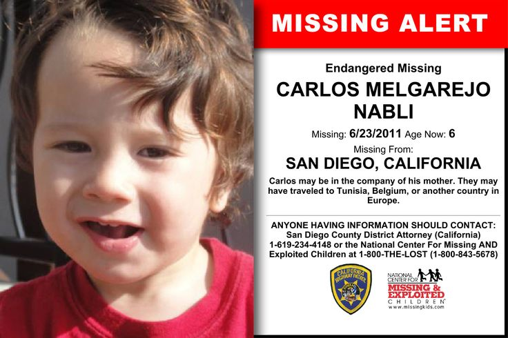 CARLOS MELGAREJO NABLI, Age Now: 6, Missing: 06/23/2011. Missing From SAN DIEGO, CA. Case Possible Location: , TN. ANYONE HAVING INFORMATION SHOULD CONTACT: San Diego County District Attorney (California) 1-619-234-4148.