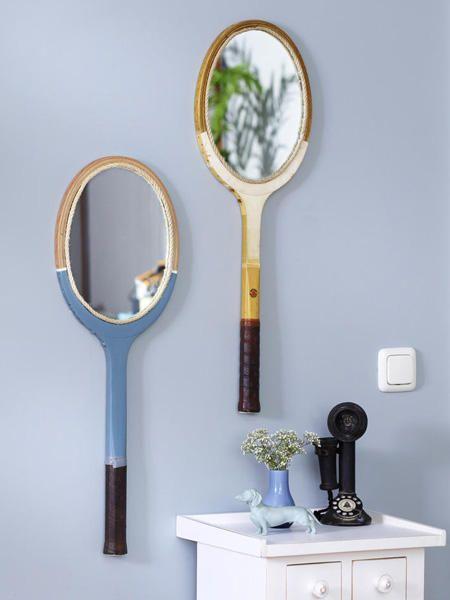 Upcycling: Aus einem Tennisschläger wird ein Spiegel