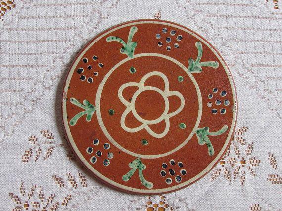 "Vintage Pottery Coaster 7""/18cm Round Pot Holder; Vintage Ceramic Pot Coaster; Terracotta Brown Tray; Rustic Home Decor"