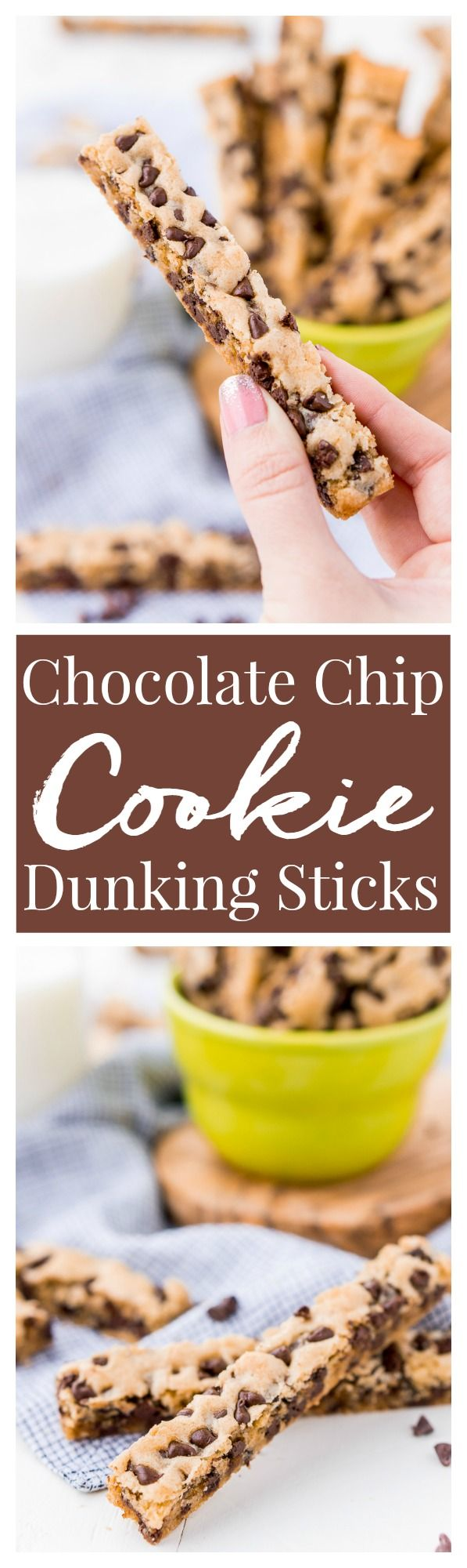 Chocolate Chip Cookie Sticks are a fun twist on classic chocolate chip cookies and the perfect dessert for dipping! A thick, slightly crisp, yet still chewy cookie loaded with chocolate chips and made in a 9 x 13-inch pan for easy baking!
