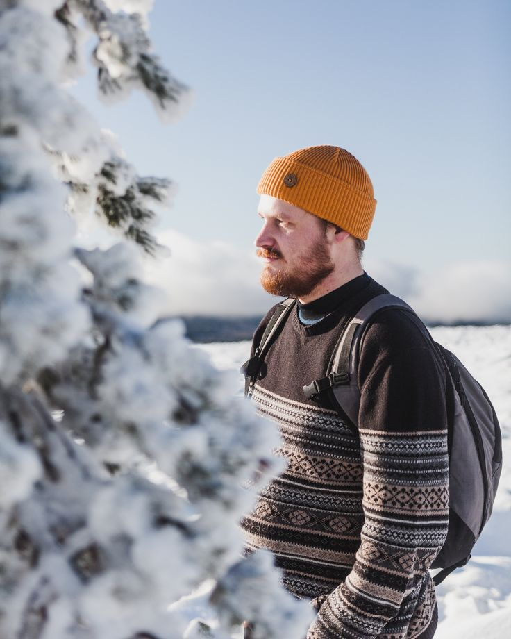 Cozy cardigan and Merino Wool Beanie style for men. Yellow and black style. Christmas present idea. Shop here!