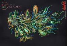 Groene phoenix pauwenveren-2 bruiloft naai de applique patch geborduurde diy doek accessoire(China (Mainland))