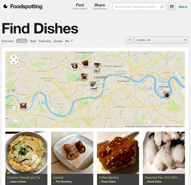 Foodspotting is useful at home and away. Plug in your location and your desired type of food. Foodspotting provides a digest of nearby eateries (with reviews) that suit your food mood.