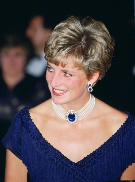 Diana Princess of Wales wears a sapphire and pearl choker during a visit to Ottawa Canada