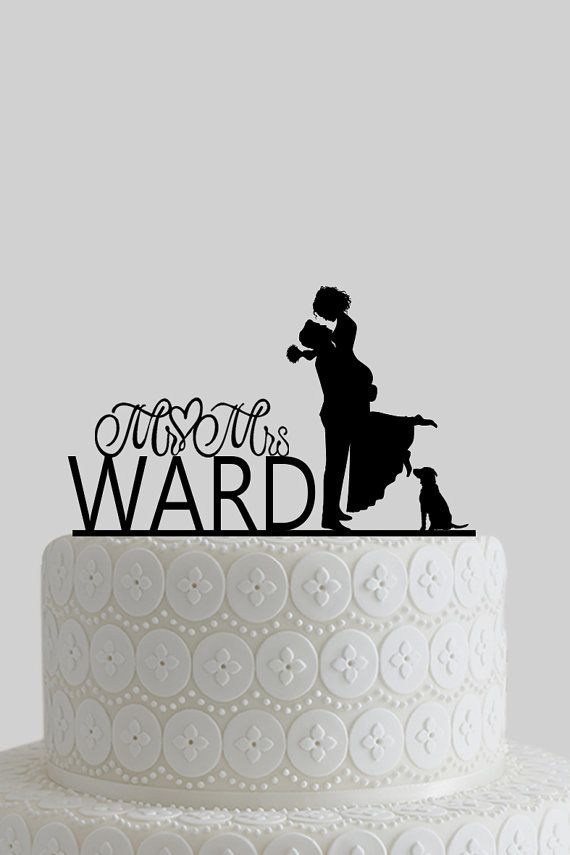 Acrylic Wedding Cake Toppers with Dog , Personalize Last Name, Mr & Mrs, Bride and Groom Silhouette, Acrylic Wooden Cake Topper A628