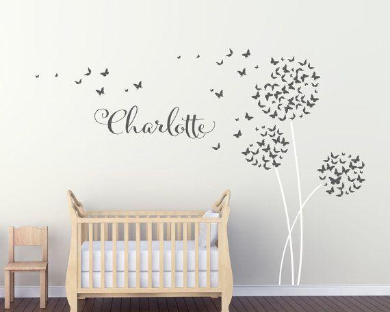 Personalised Dandelion Butterflies Wall Art by UrbanArtworkStore