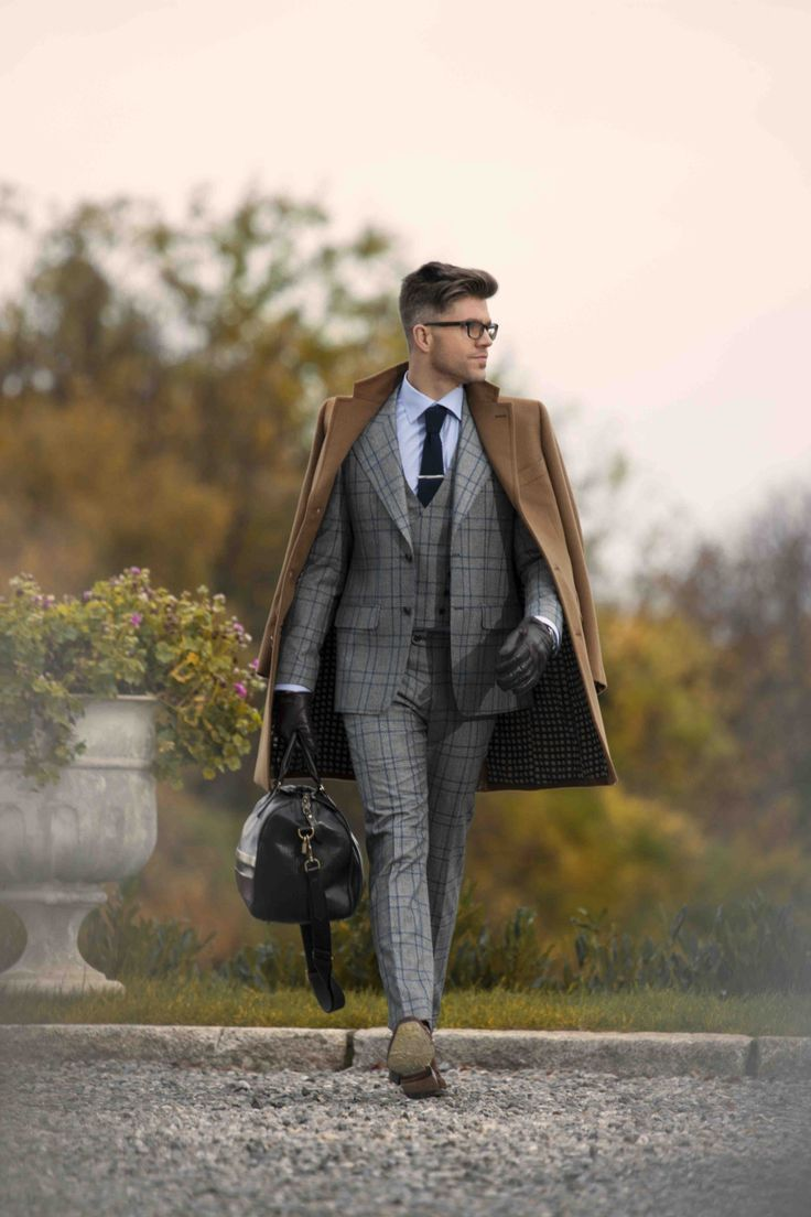 Mens leather gloves grey - Men S Brown Overcoat Grey Plaid Three Piece Suit Light Blue Dress Shirt Dark Brown Leather Oxford Shoes