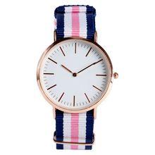 2017 New Korean Style Simple Fashion Minimalist Wrist Quartz Watch Blue Stripe Pink Strap Nylon Women Strap Clock Bangle (China (Mainland))