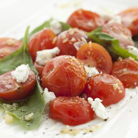 Warm Cherry Tomatoes and Goat Cheese, from ATCO Blue Flame Kitchen's Everyday Delicious 2013 cookbook.