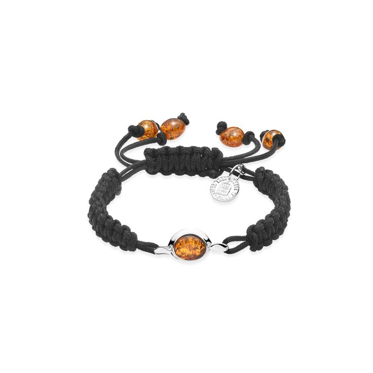 House of Amber - Knotted string bracelet with cognac amber.