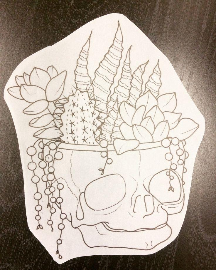 fetal skull succulent plants tattoo design