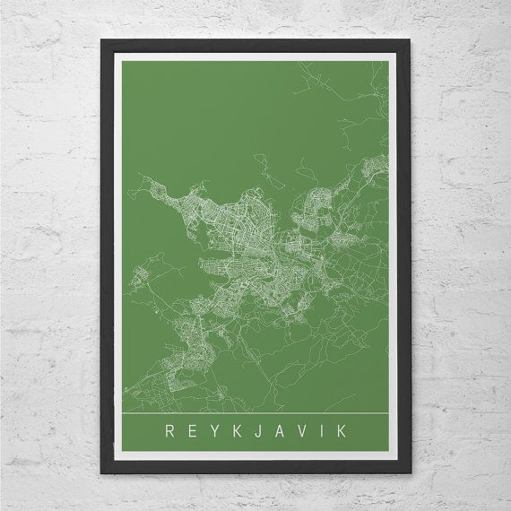 REYKJAVIC MAP PRINT - Iceland Map Art - High Quality Giclee Print Minimalist Art Print Customizable City Map Ribba Size