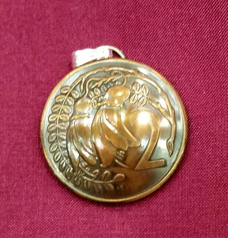 New Zealand Kowhai Flower 2 Cent Coin Domed Pendant - pinned by pin4etsy.com