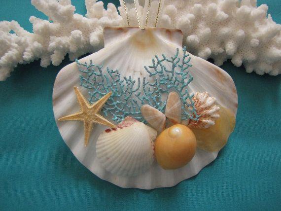 Seashell Ornament, Beach Decor Christmas Ornament, Nautical Decor, Scallop Shell…