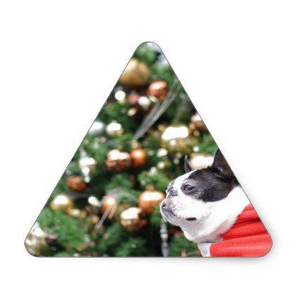 Boston Terrier Pug Dog Christmas Triangle Sticker - christmas craft supplies cyo merry xmas santa claus family holidays