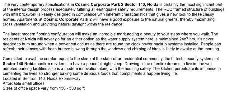 Cosmic Corporate Park 2 Yamuna Express Way Noida