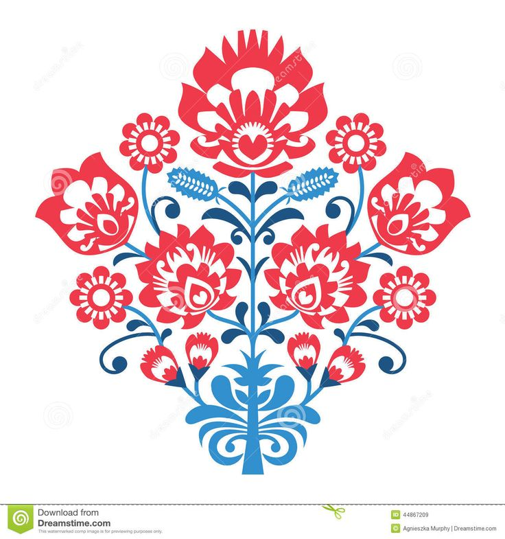 Polish Folk Art Pattern With Flowers - Wzory Lowickie, Wycinanka - Download From Over 39 Million High Quality Stock Photos, Images, Vectors. Sign up for FREE today. Image: 44867209